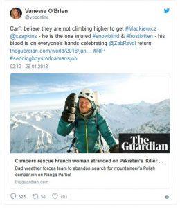 tweet alpinistki vanessy obrien